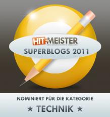 Nominierung für den Superblog 2011 in der Kategorie Technik!