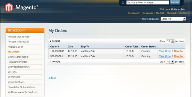 Beim zehnten Store wird die Order-Id um eine Stelle länger.