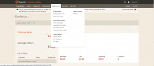 Magento 2 Backend: Dashboard (Stand: 11. April 2014)