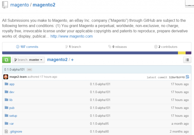 Magento 2 in Version 0.1.0-alpha101 bei Github.