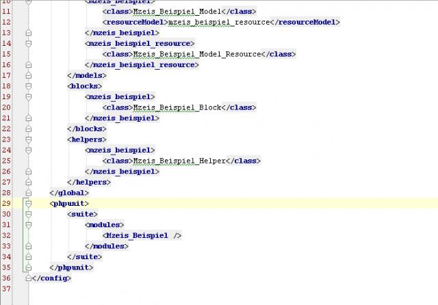 Die Extension wird in der Konfigurationsdatei als zu testen gekennzeichnet.