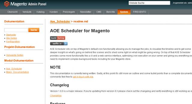 Die Version 1.1.0 von Mzeis_Documentation kann die Dokumentation eines Moduls im Backend anzeigen.