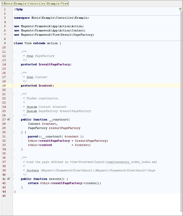 """Der vom Live-Template """"mcontroller"""" erstellte Magento-2-Code."""